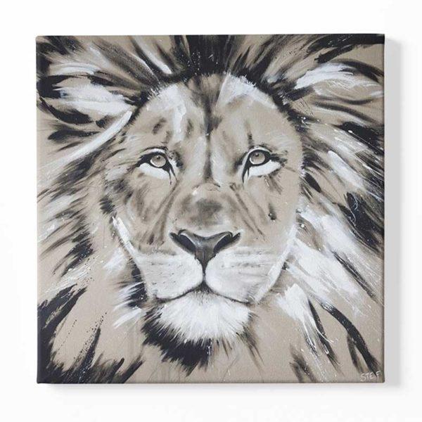 tableau sur toile dessin lion