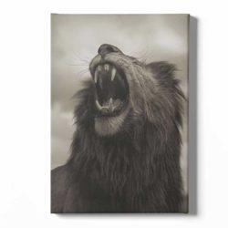 tableau sur toile lion beige