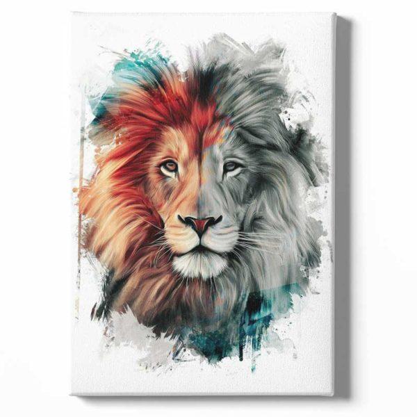 Tableau sur toile lion blanc