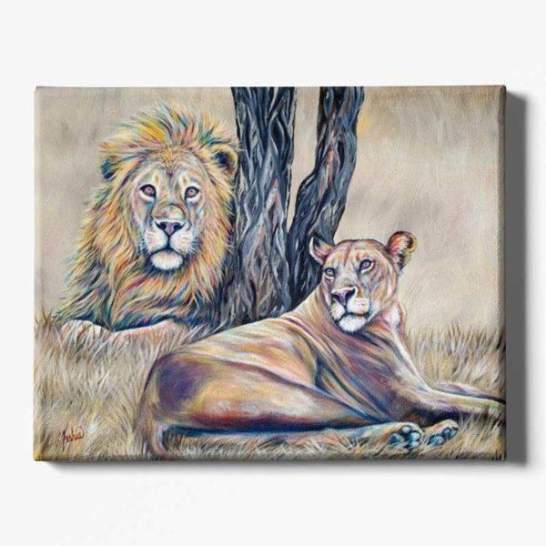 Tableau sur toile lion nature